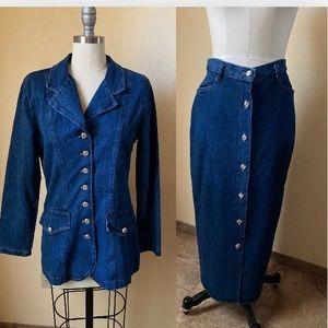 Skirt Jacket Jean Denim 2pc Suit Vintage